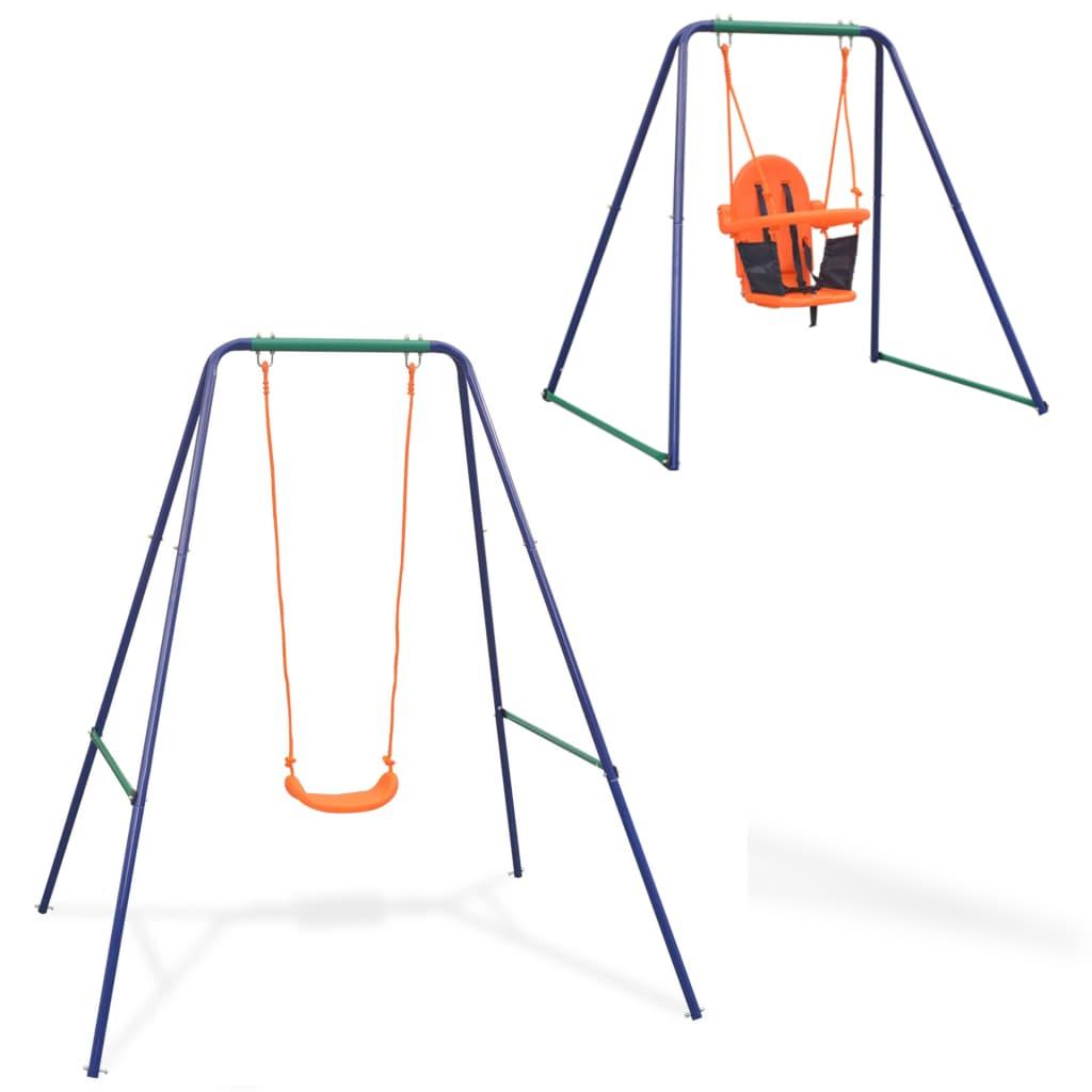 Balançoire simple 2 en 1 et balançoire pour tout-petit Orange
