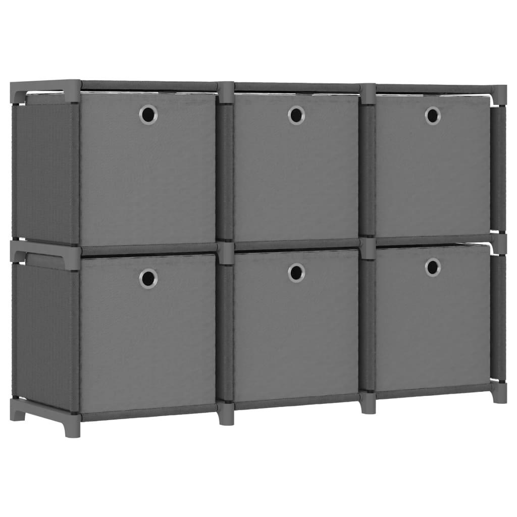 Présentoir 6 cubes avec boîtes en tissu gris 103x30x72.5 cm