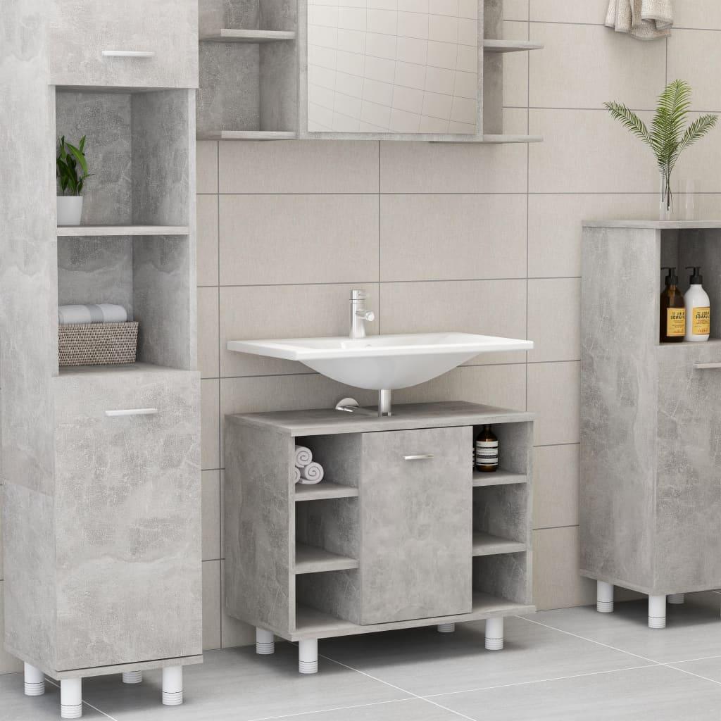 Ντουλάπι μπάνιου από σκυρόδεμα γκρι 60x32x53.5 cm σανίδα