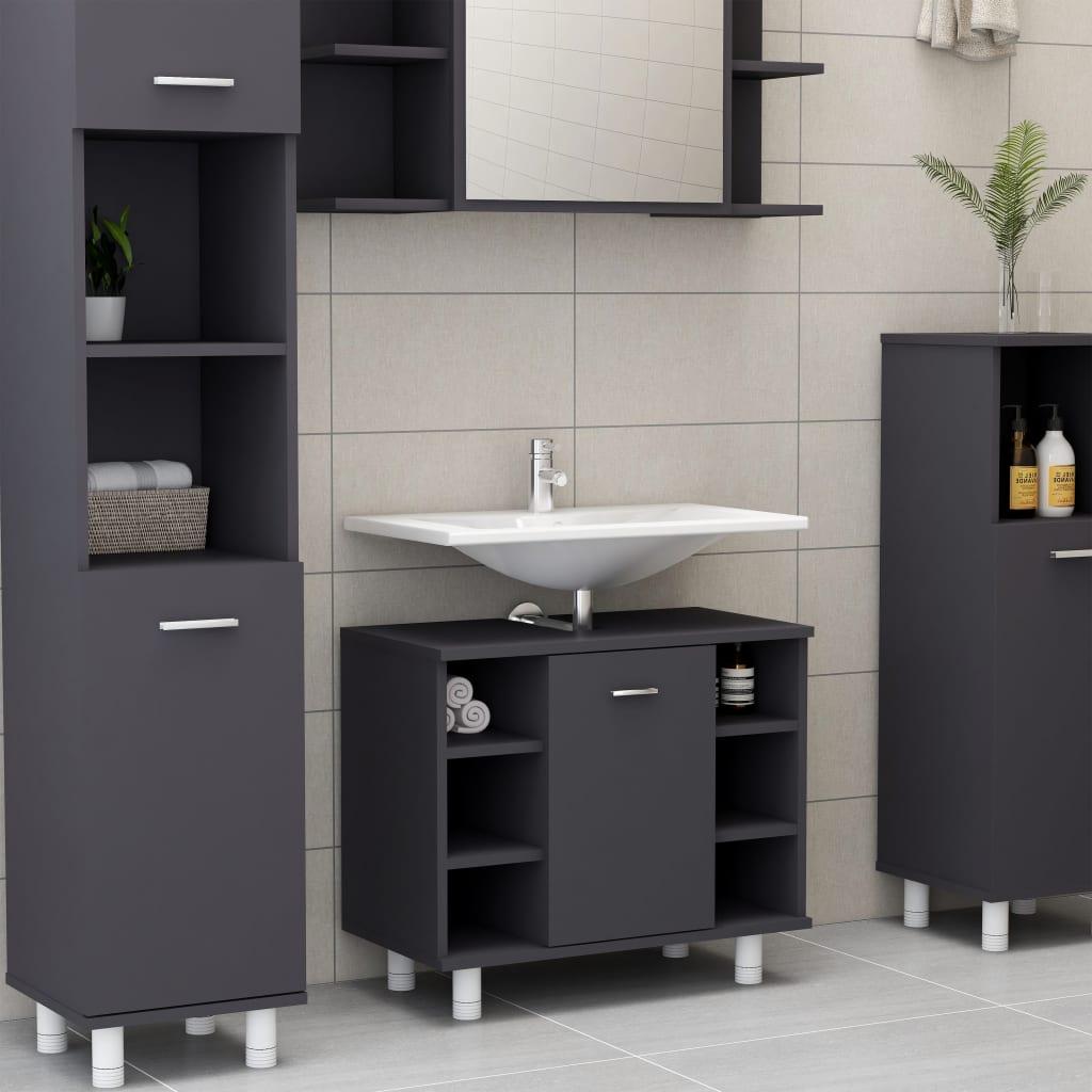 Ντουλάπι μπάνιου Γκρι 60x32x53.5 cm Μοριοσανίδα