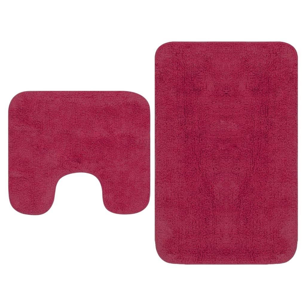 Набор ковриков для ванной, 2 предмета, ткань фуксия
