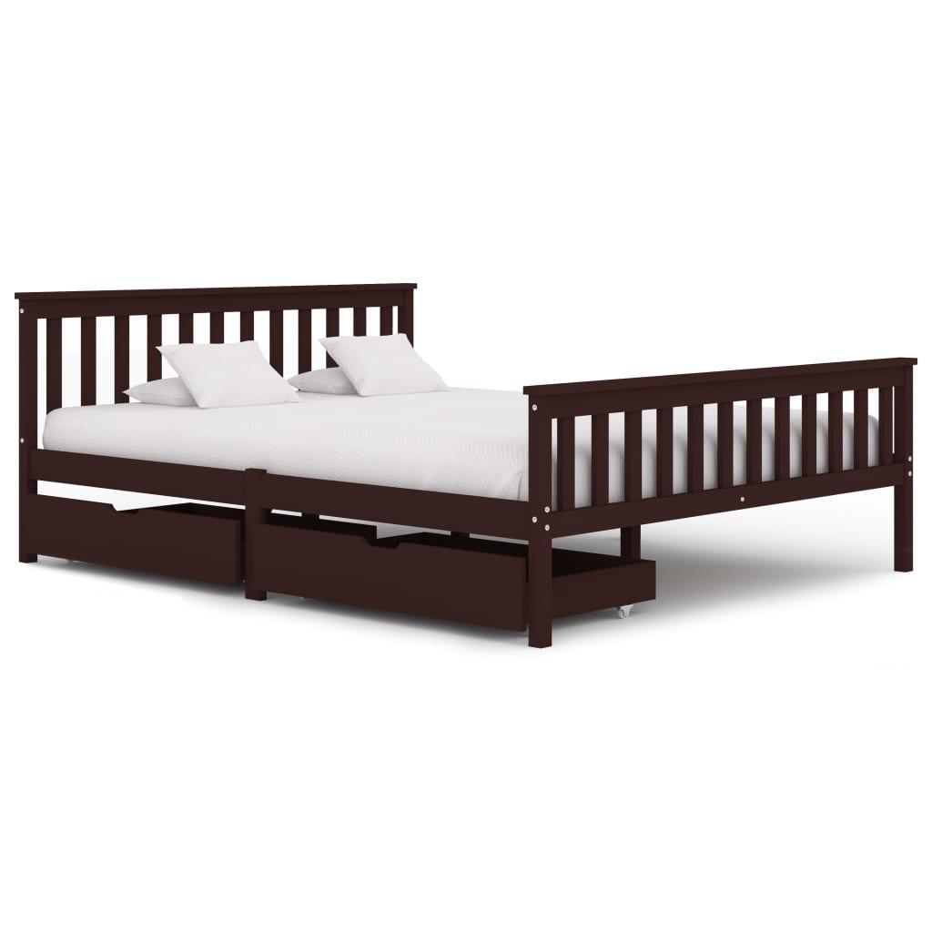 Cadre de lit avec 2 tiroirs Bois de pin massif brun foncé 160x200 cm