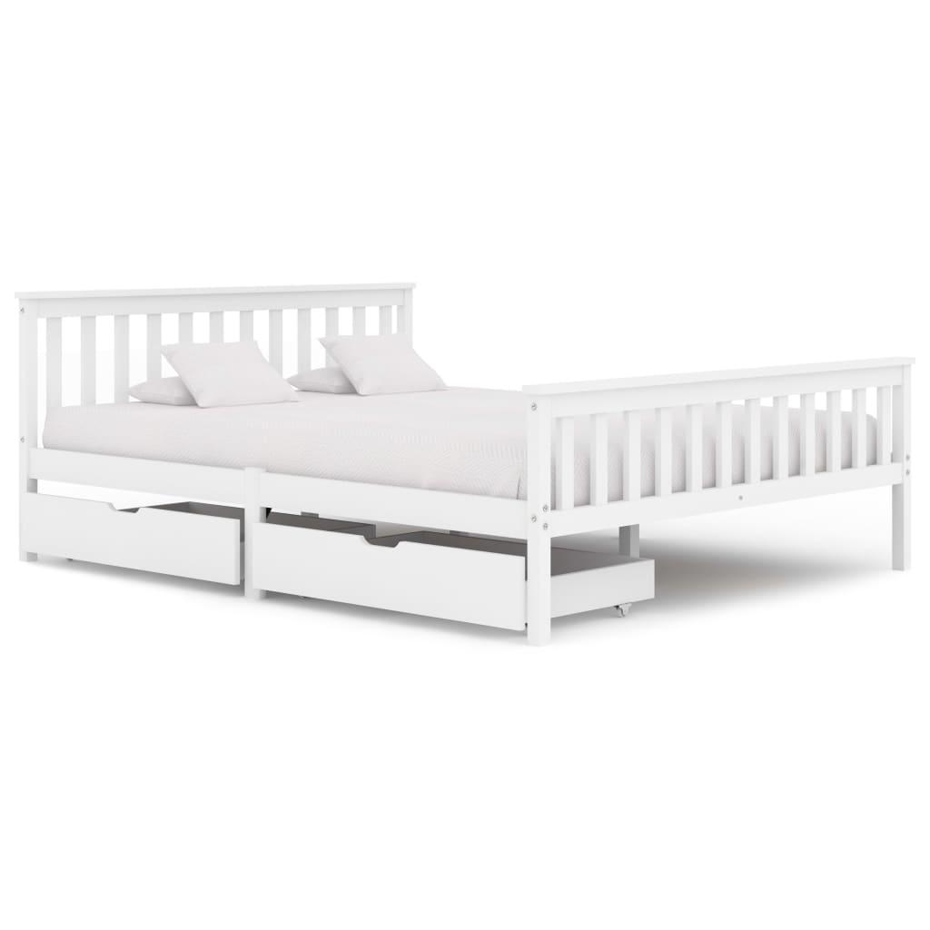 Cadre de lit avec 2 tiroirs Bois de pin massif blanc 160x200 cm