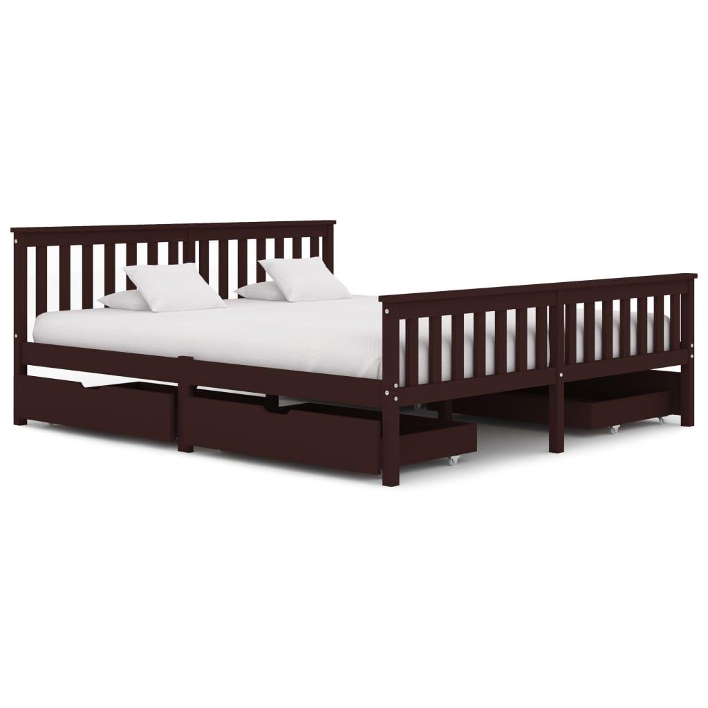 Cadre de lit avec 4 tiroirs Bois de pin massif brun foncé 180x200 cm