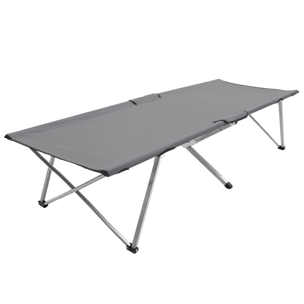 Lettino da campeggio 206x75x45 cm XXL Grigio