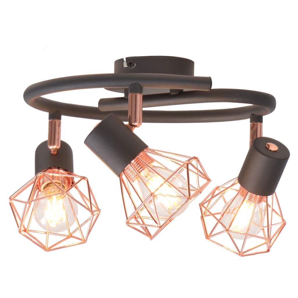 Потолочный светильник с 3 прожекторами E14 Black and Copper