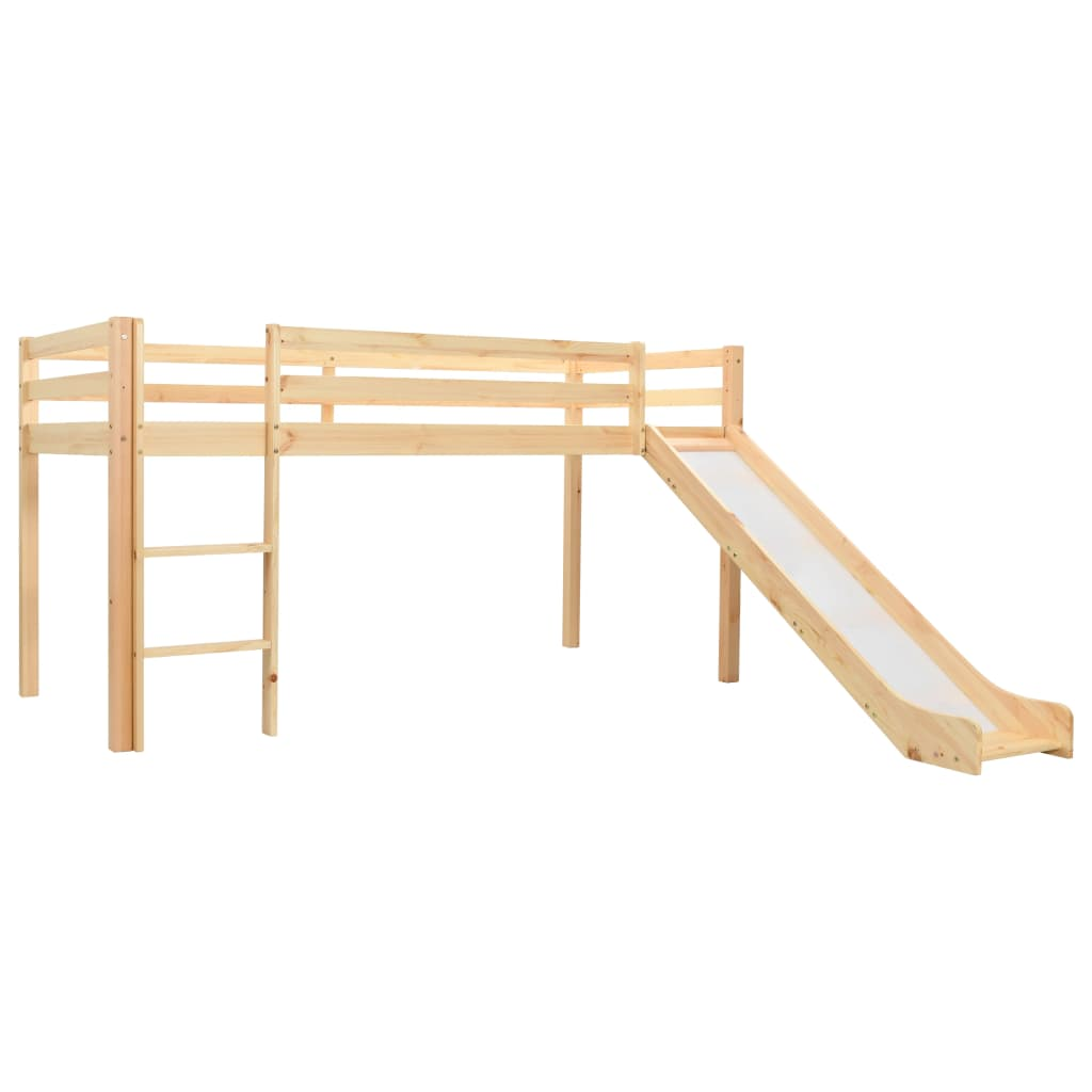 Cadre de lit mezzanine enfant avec toboggan et échelle Pinède 97x208 cm