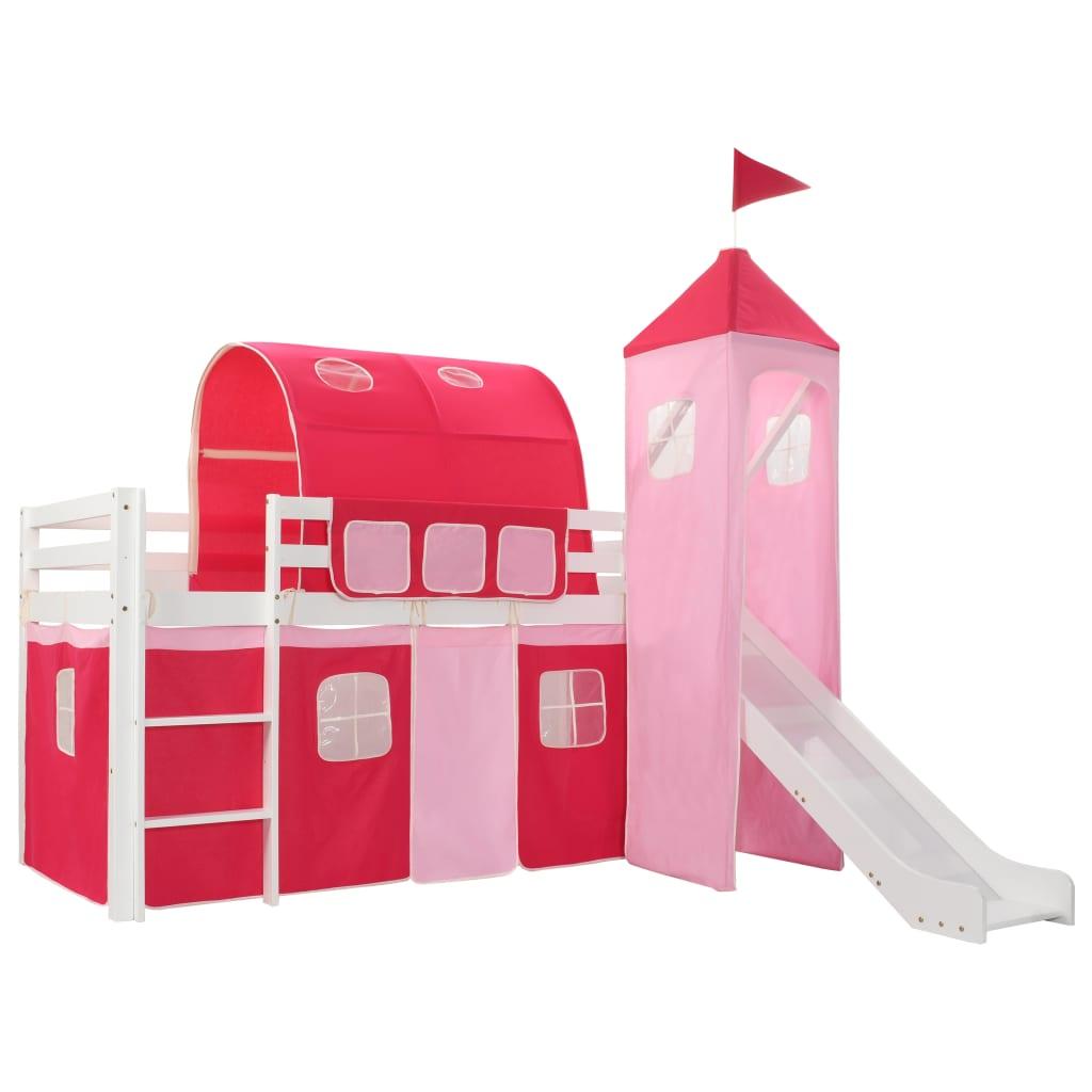Cadre de lit mezzanine enfant avec échelle coulissante Pinède 208x230 cm