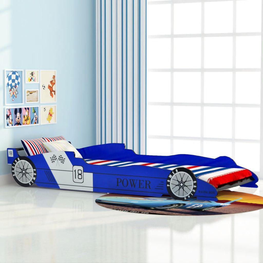 Lit de voiture de course pour enfants 90x200 cm Bleu