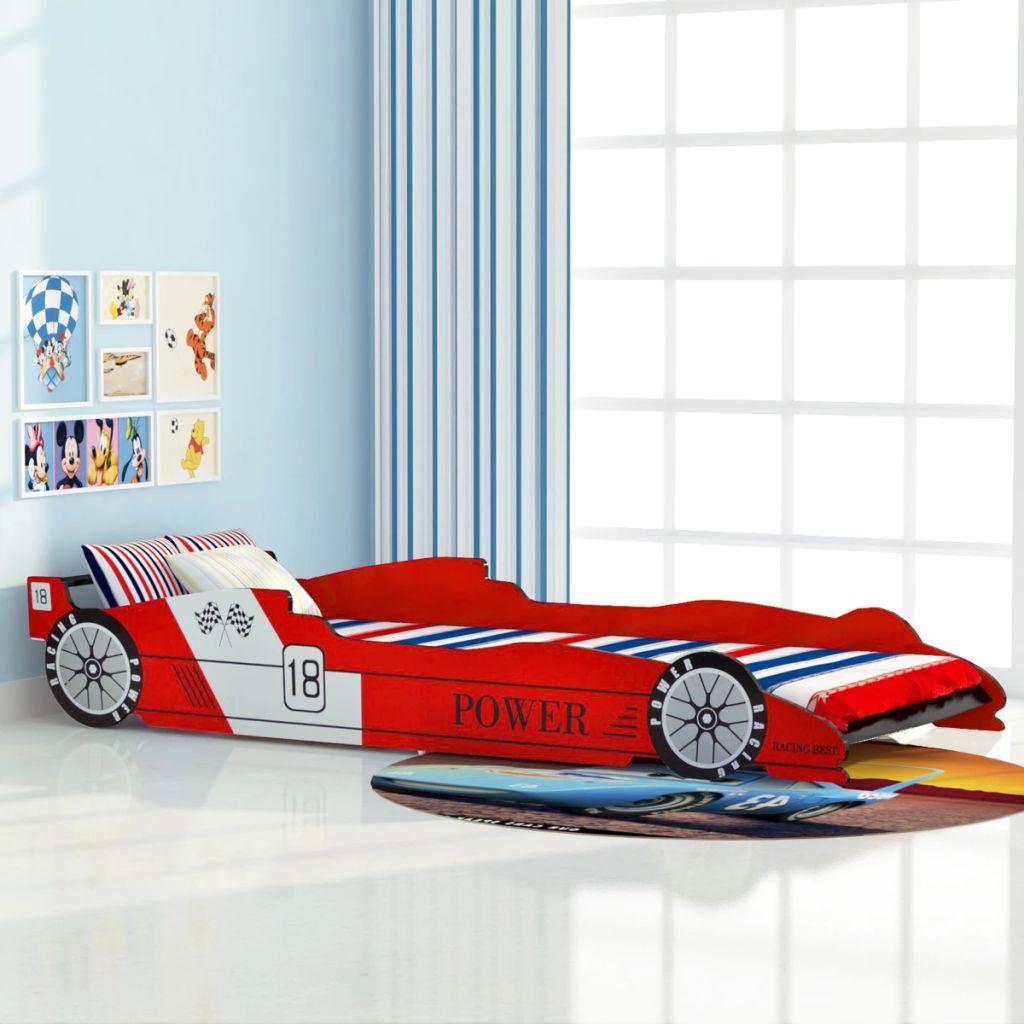 Lit de voiture de course pour enfants 90x200 cm Rouge