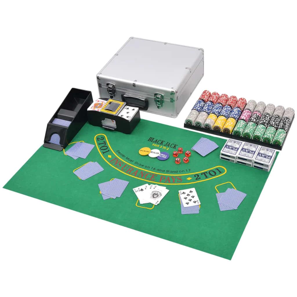 Combinez Poker / Blackjack avec 600 jetons laser en aluminium