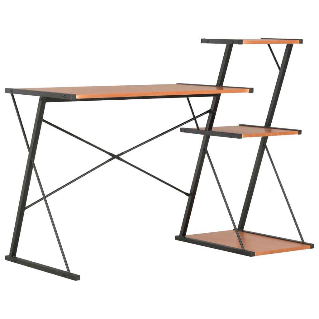 Bureau avec étagère noir et marron 116x50x93 cm