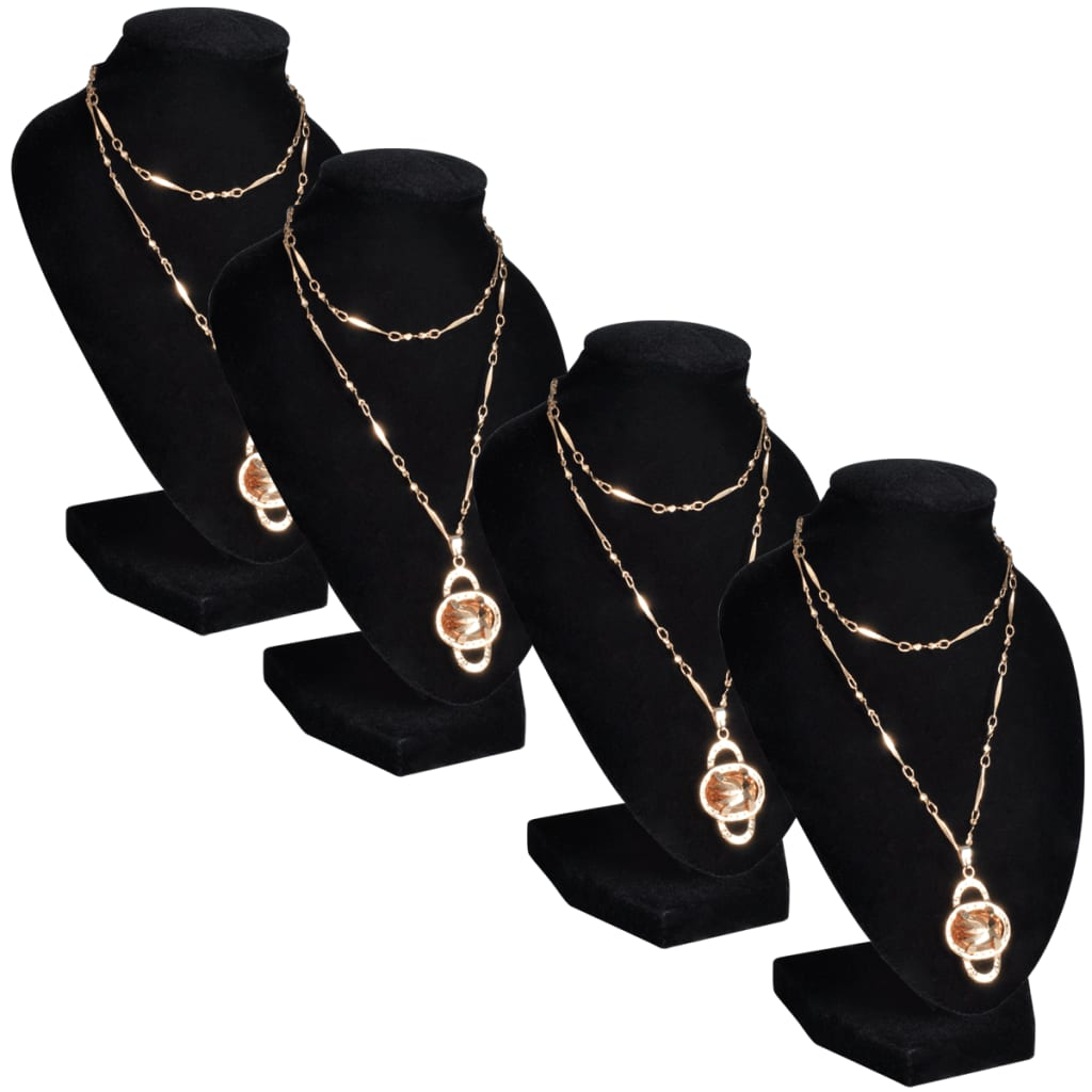 Фланелевая подставка для украшений Ожерелье Бюст Черный 9 x 8.5 x 15 см 4 шт.