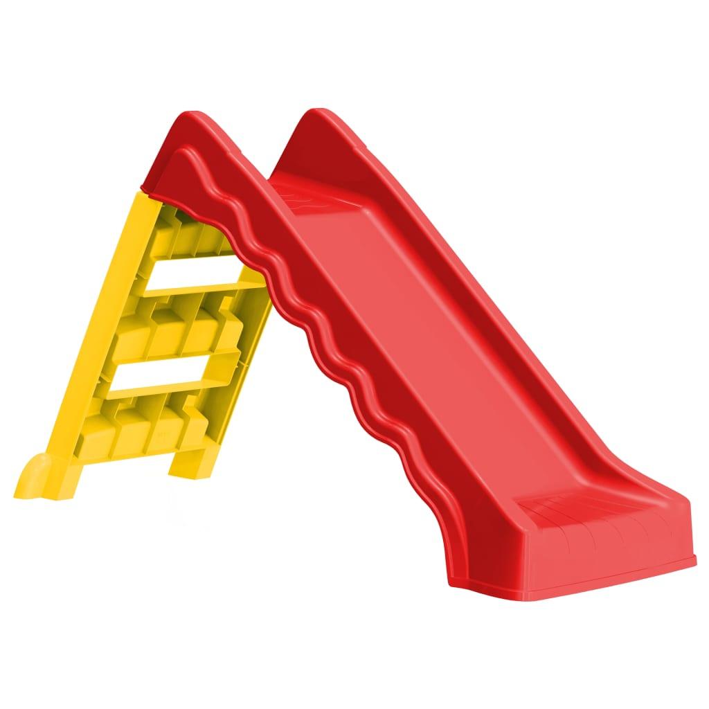 Glissière pliable pour enfants intérieur extérieur rouge et jaune