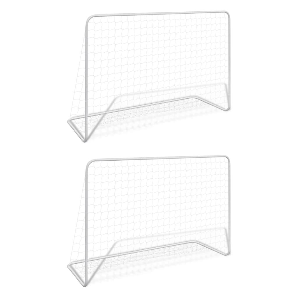 Футбольные ворота 2 шт с сетками 182x61x122 cm Сталь, белые