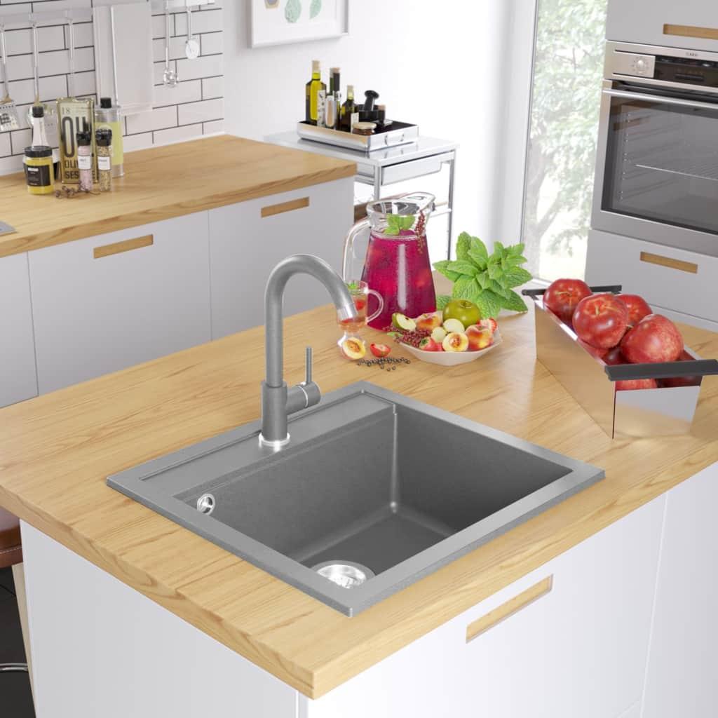 Granit Küchenspüle Einzelwaschbecken Grau