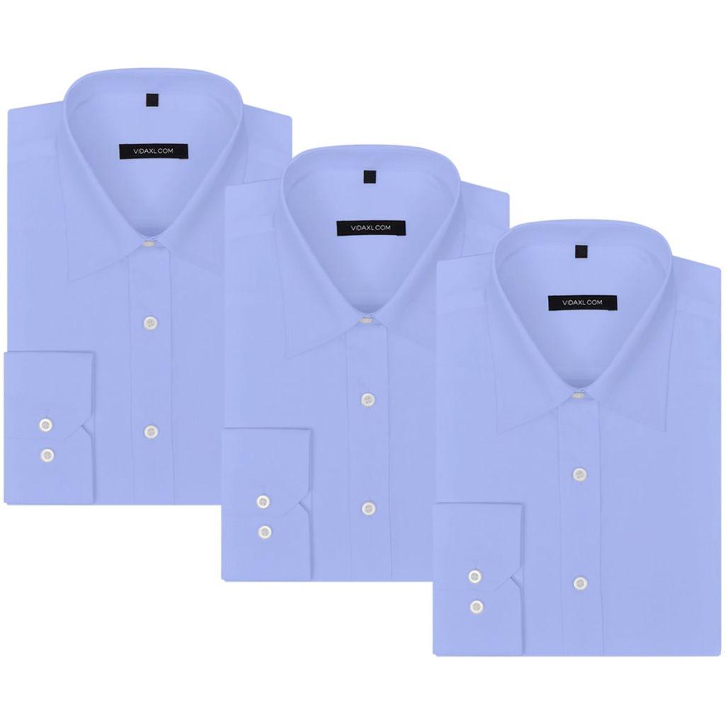 Ανδρικά πουκάμισα 3 τεμ. Μέγεθος S Ανοιχτό μπλε