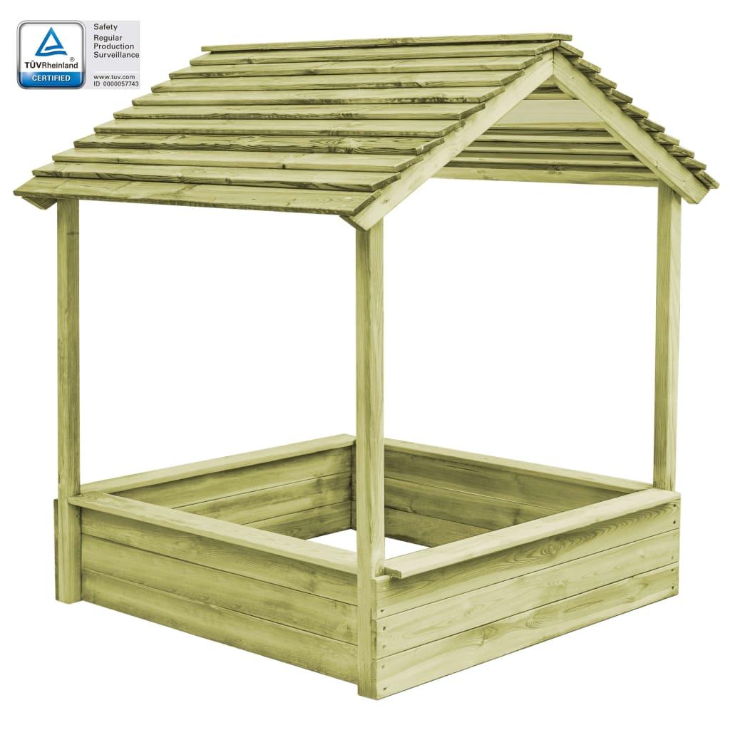 Maisonnette d'extérieur avec bac à sable 128x120x145 cm Pinède