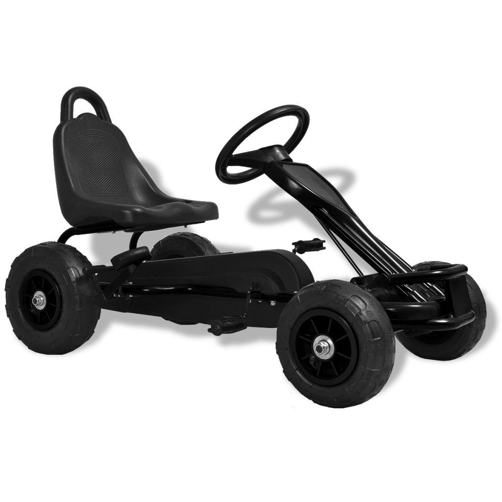 Kart à pédales avec pneus pneumatiques noir