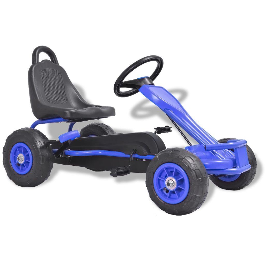 Kart à pédales avec pneus pneumatiques bleu