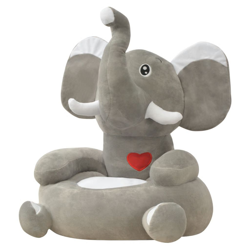 Chaise enfant en peluche Elephant Grey