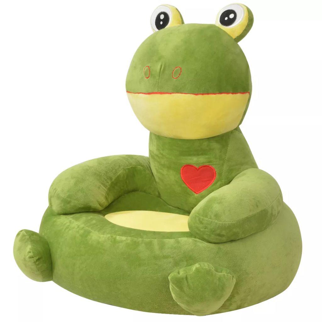 Chaise enfant en peluche Frog Green