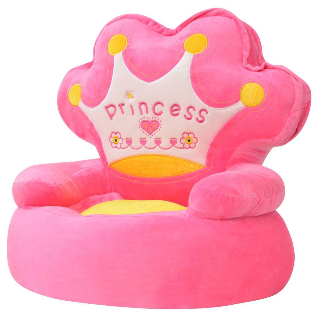 Peluche Chaise Enfant Princesse Rose