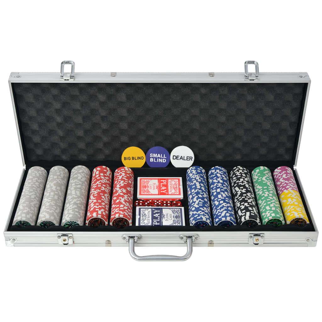 Set de poker avec 500 jetons laser en aluminium