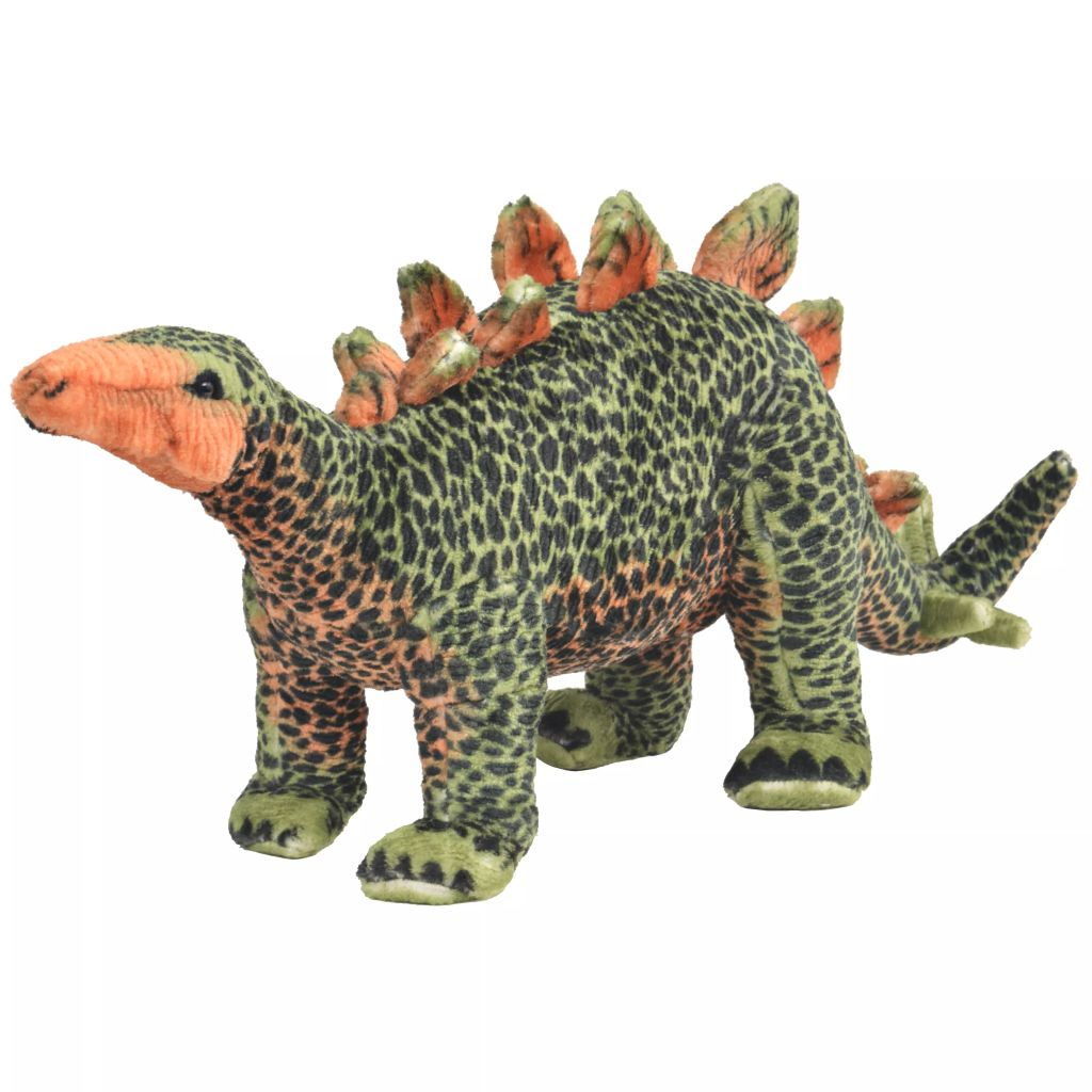 Peluche debout Dinosaure Stegosaurus Vert et Orange XXL
