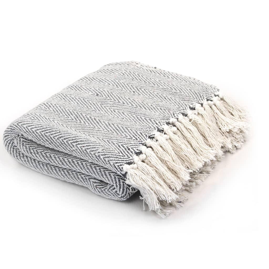 Jogue algodão espinha de peixe 160x210 cm cinza