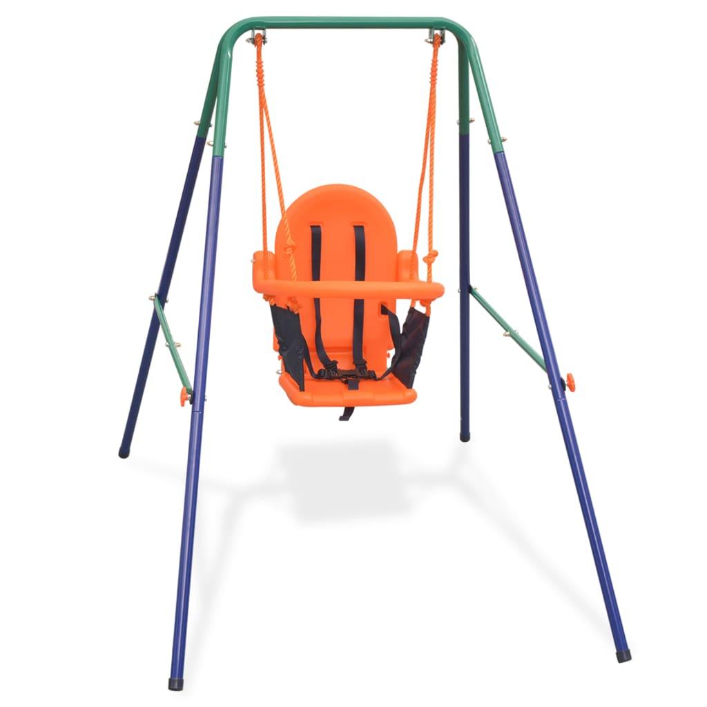 Ensemble de balançoire pour tout-petit avec harnais de sécurité Orange