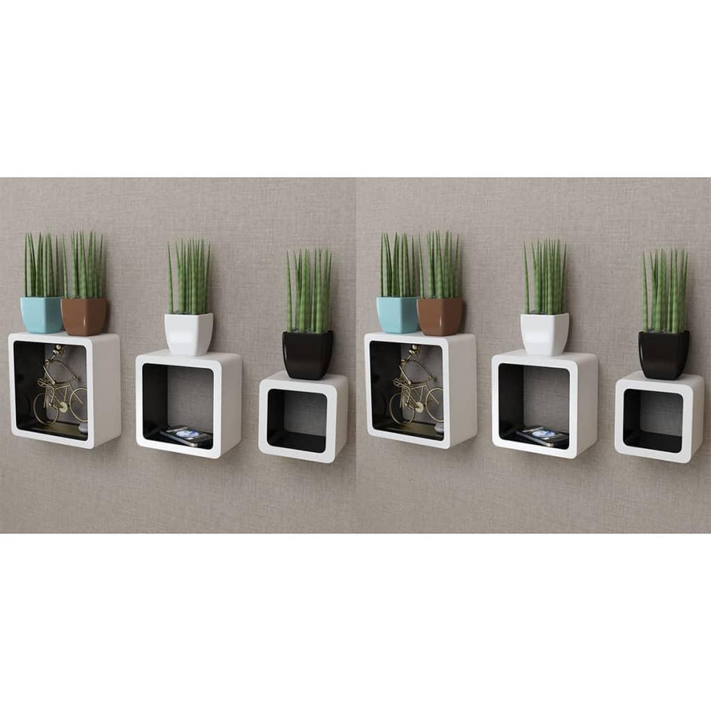 Étagères Wall Cube 6 pcs Blanc et Noir