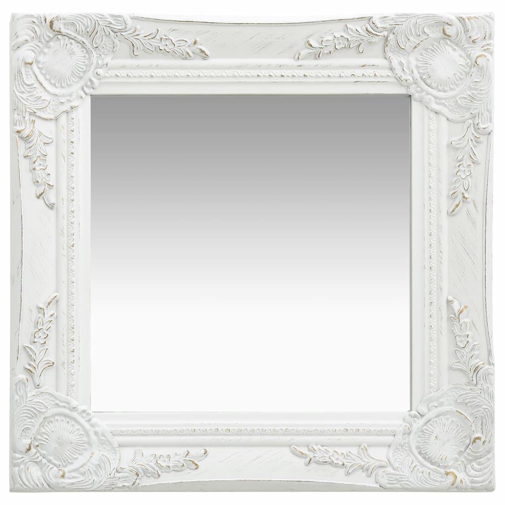 Wall Mirror Baroque Style 40x40 cm White