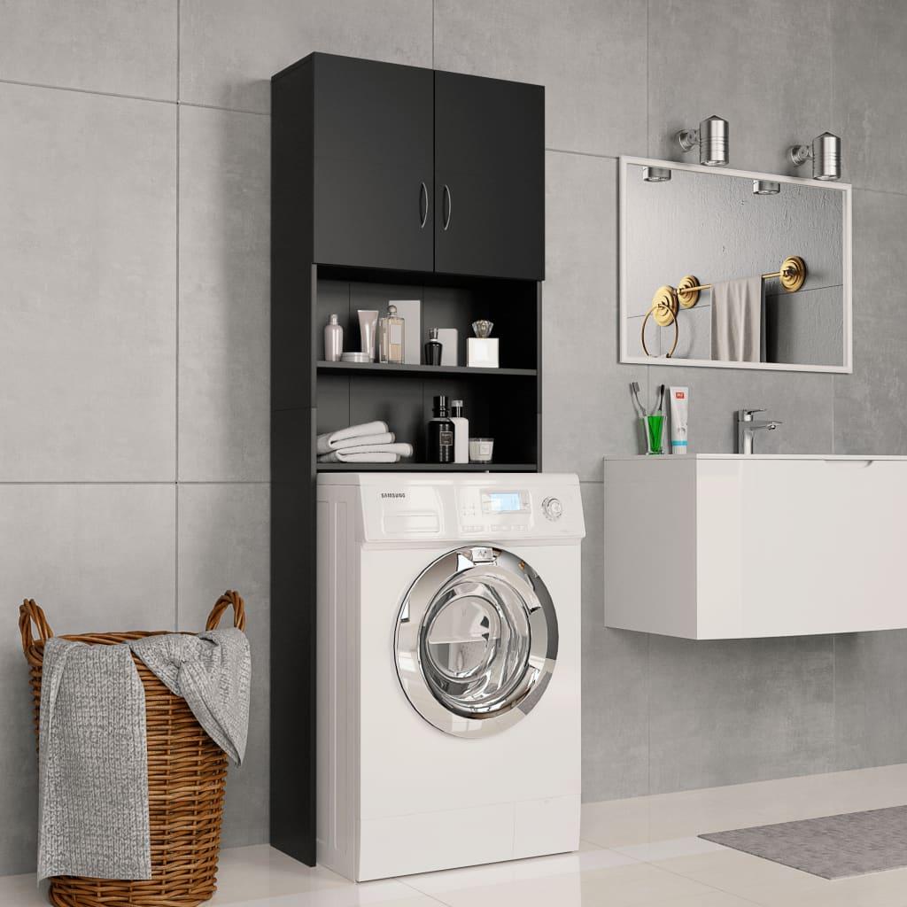 Meuble Lave-linge Noir 64x25.5x190 cm Aggloméré