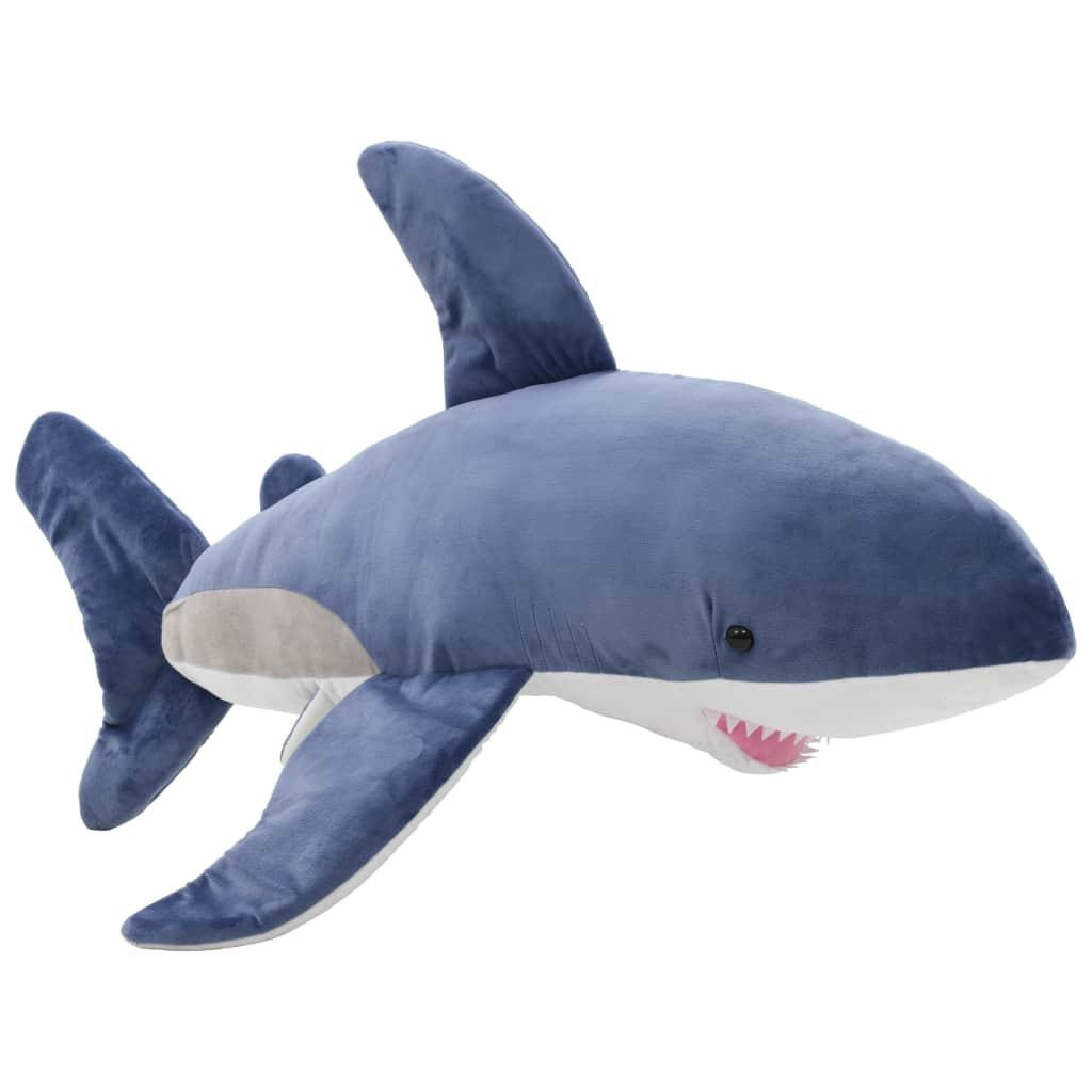 Peluche requin blanc en peluche bleu et blanc