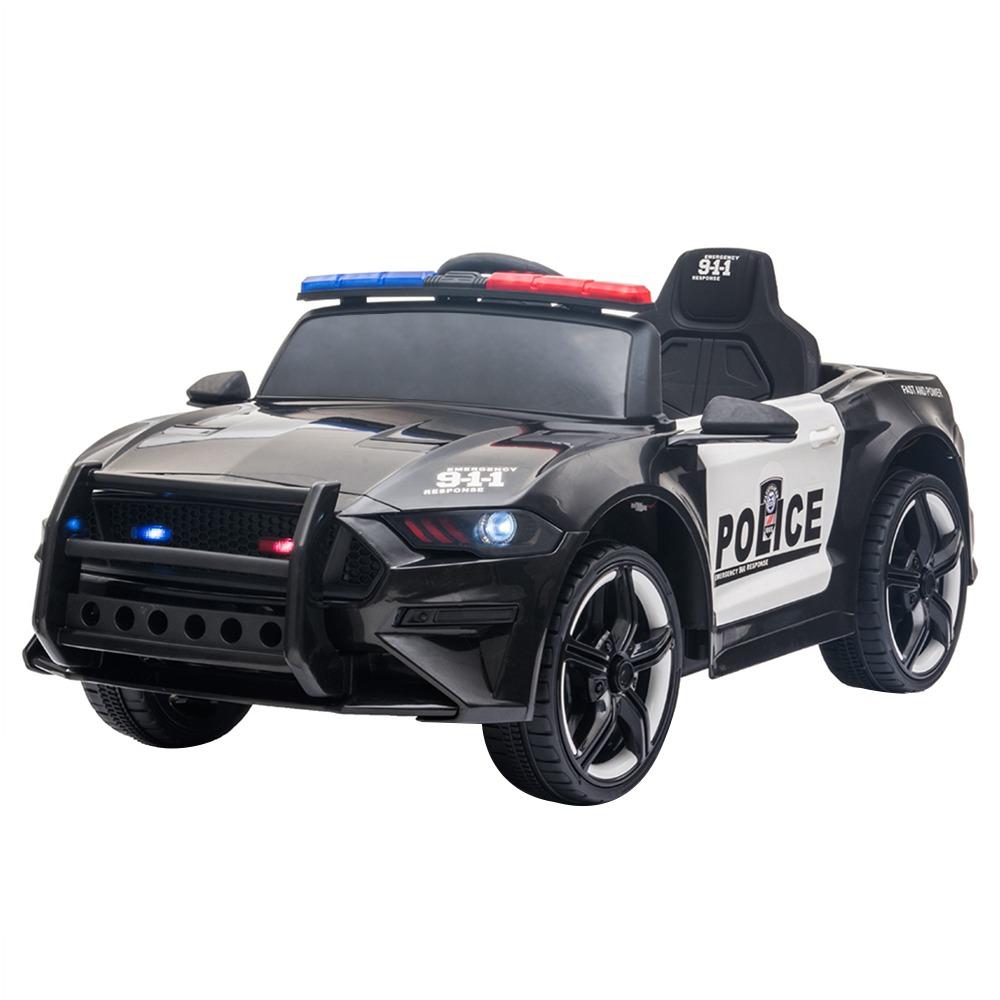 12 V-os gyerekek rendőrautón közlekedhetnek 2.4 GHz-es távirányítós LED-es világító sziréna mikrofonnal - fekete + fehér