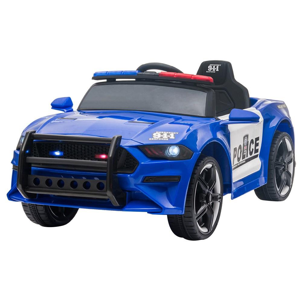 12 V-os gyerekek rendőrautón közlekedhetnek 2.4 GHz-es távirányítós LED-es világító sziréna mikrofonnal - kék + fehér
