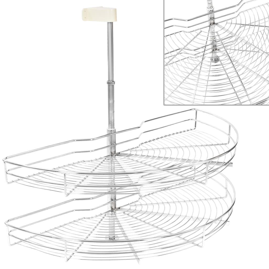 2-Tier Kitchen Wire Basket Silver 180 Degree 85x44x80 cm