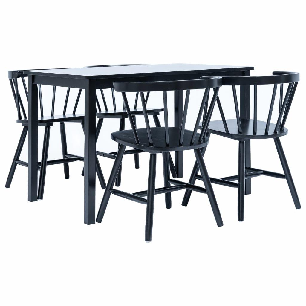 Ensemble de salle à manger 5 pièces en bois de caoutchouc massif noir