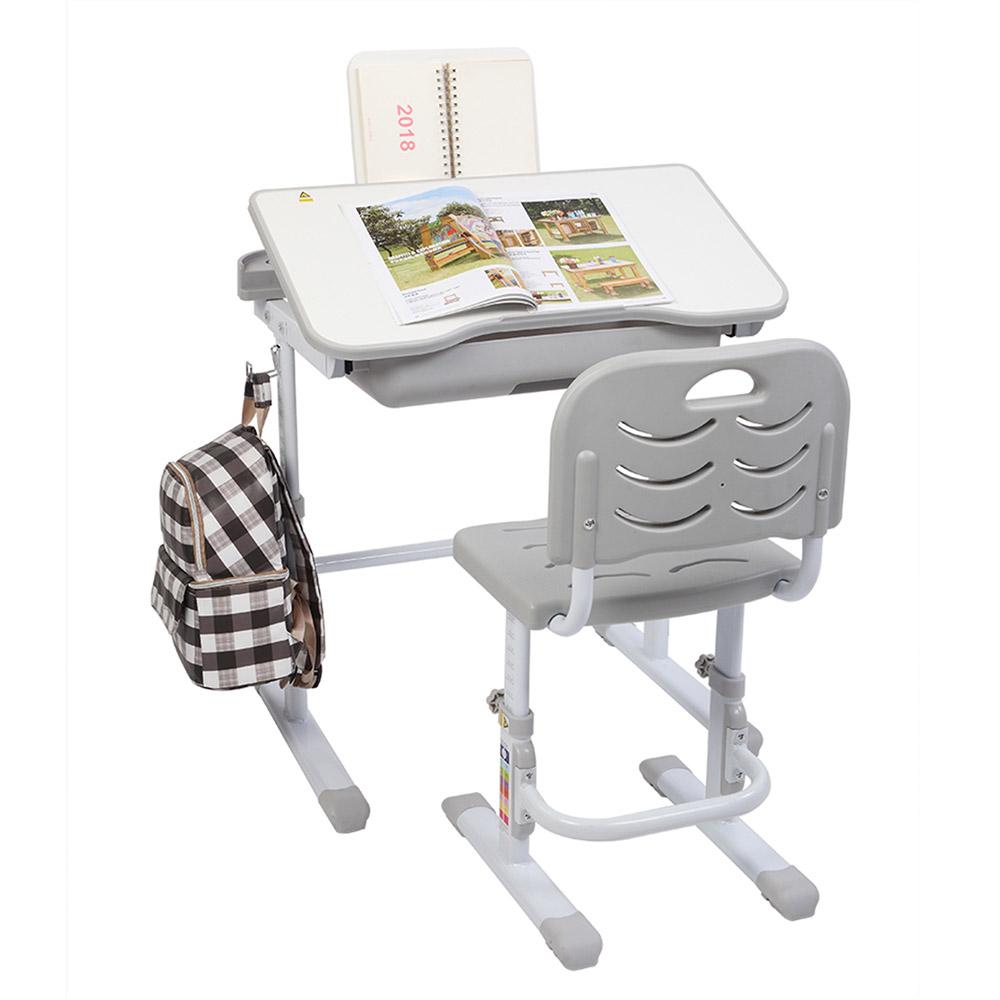 70CMキッズスタディデスクとチェアセットリフティングテーブルチルトトップ、読書台付き-グレー