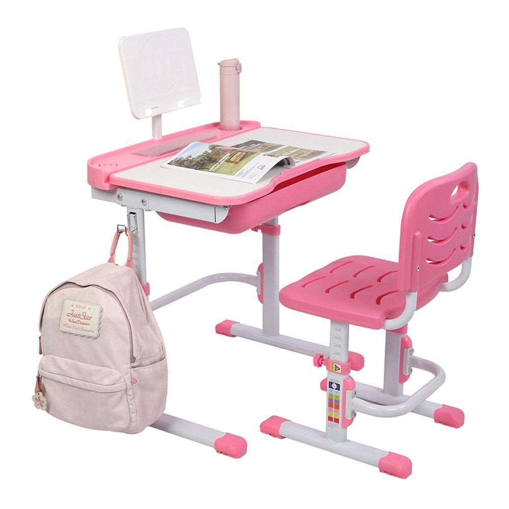 70CMキッズスタディデスクとチェアセットリフティングテーブルチルトトップ、読書台付き-ピンク