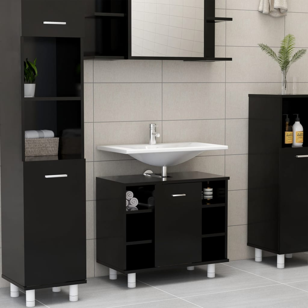 Ντουλάπι μπάνιου Μαύρο 60x32x53.5 cm Μοριοσανίδα