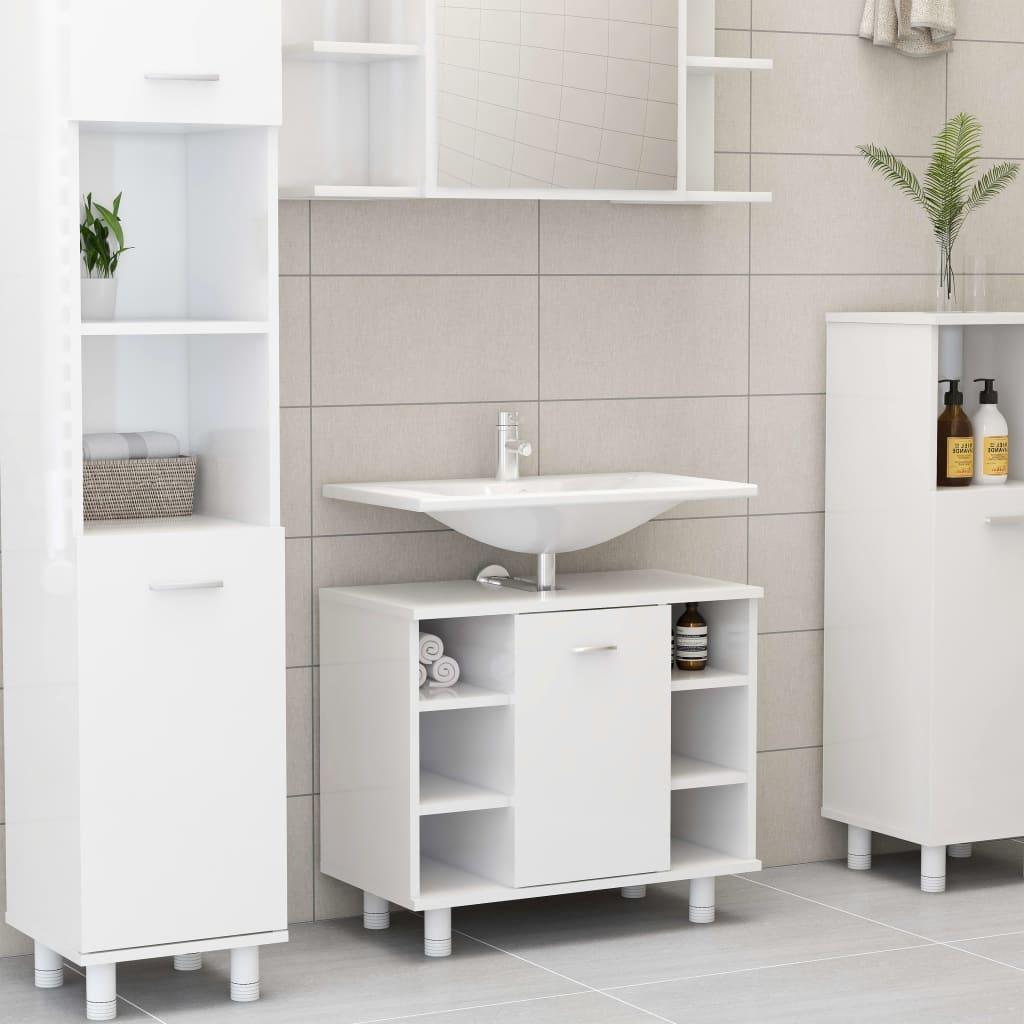 Fürdőszoba szekrény fényes fehér 60x32x53.5 cm forgácslap