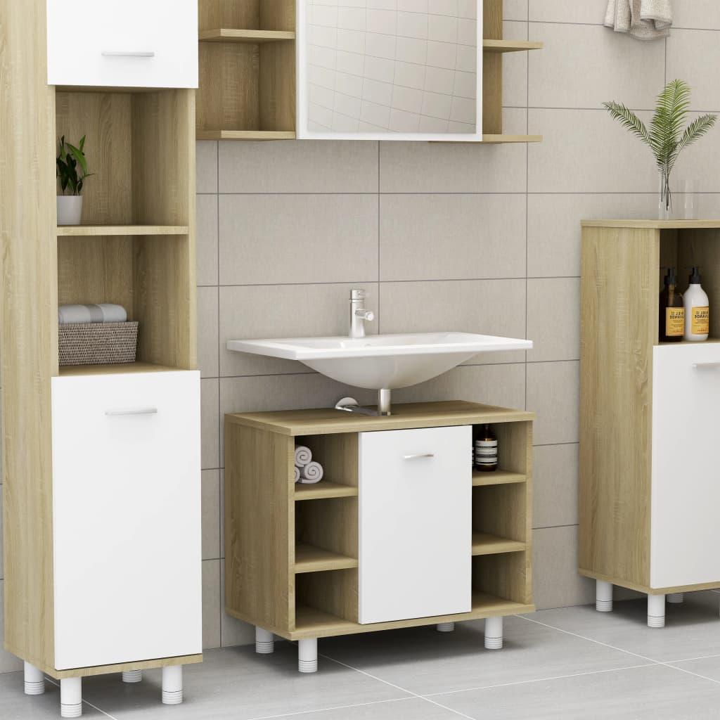 Fürdőszoba szekrény fehér és Sonoma tölgy 60x32x53.5 cm forgácslap
