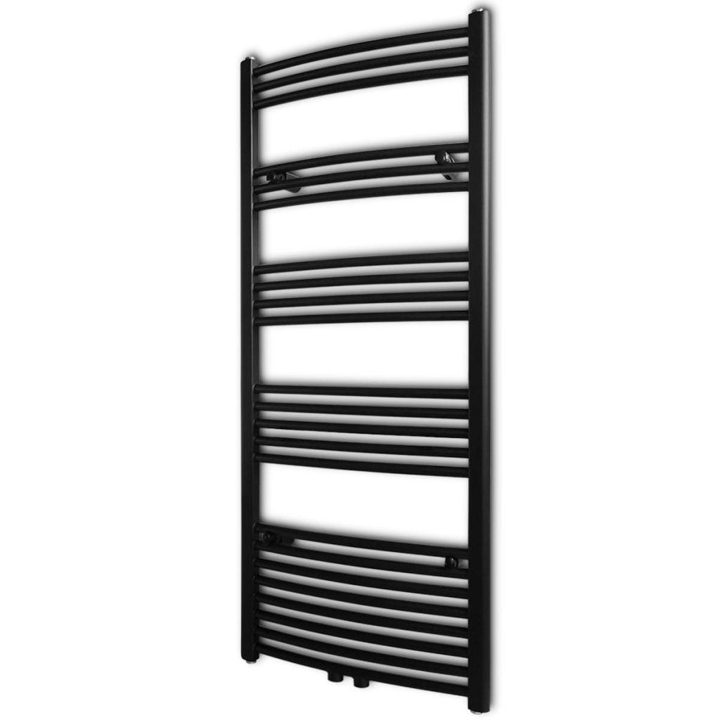 Black Bathroom Central Heating Towel Rail Radiator Curve 600x1424mm