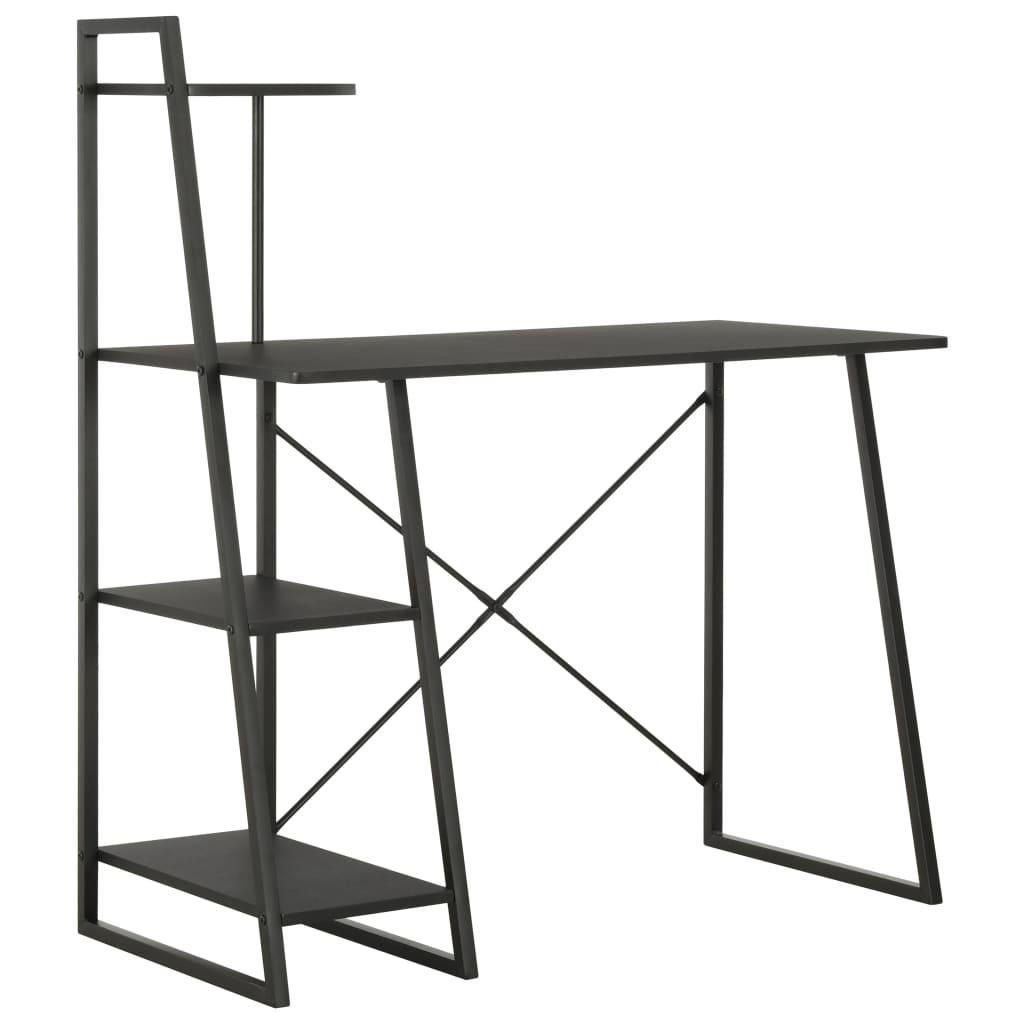 Γραφείο με Ράφια Μαύρο 102x50x117 cm