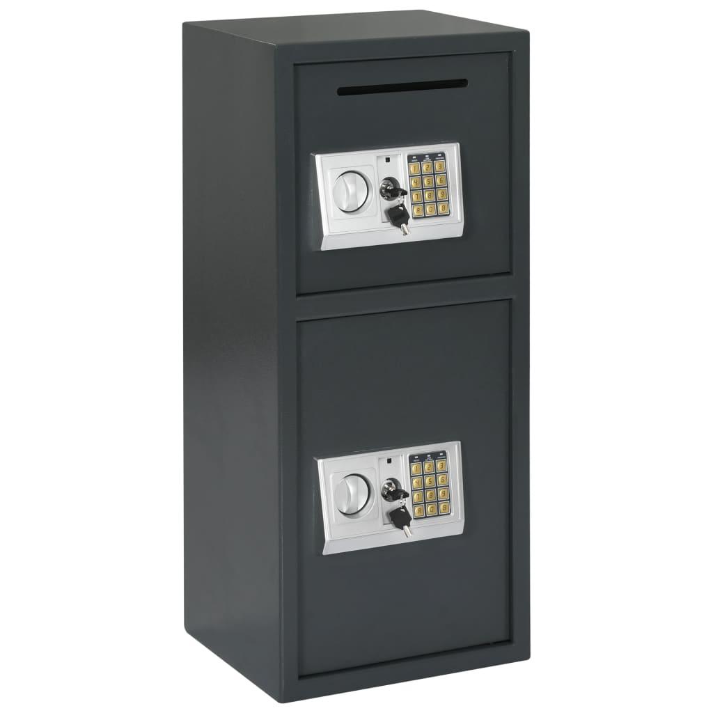 Coffre-fort numérique à double porte gris foncé 35x31x80 cm