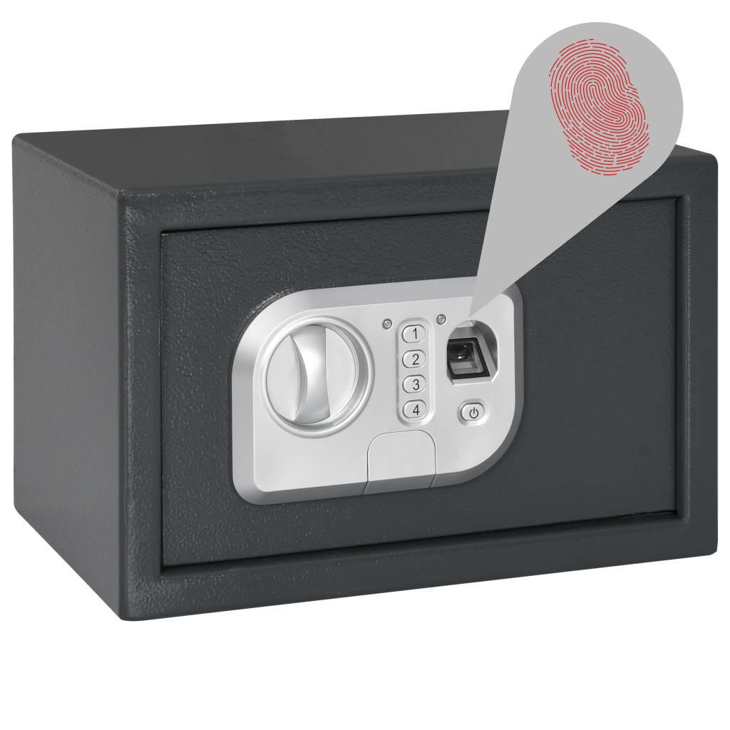 Coffre-fort numérique avec empreintes digitales gris foncé 31x20x20 cm