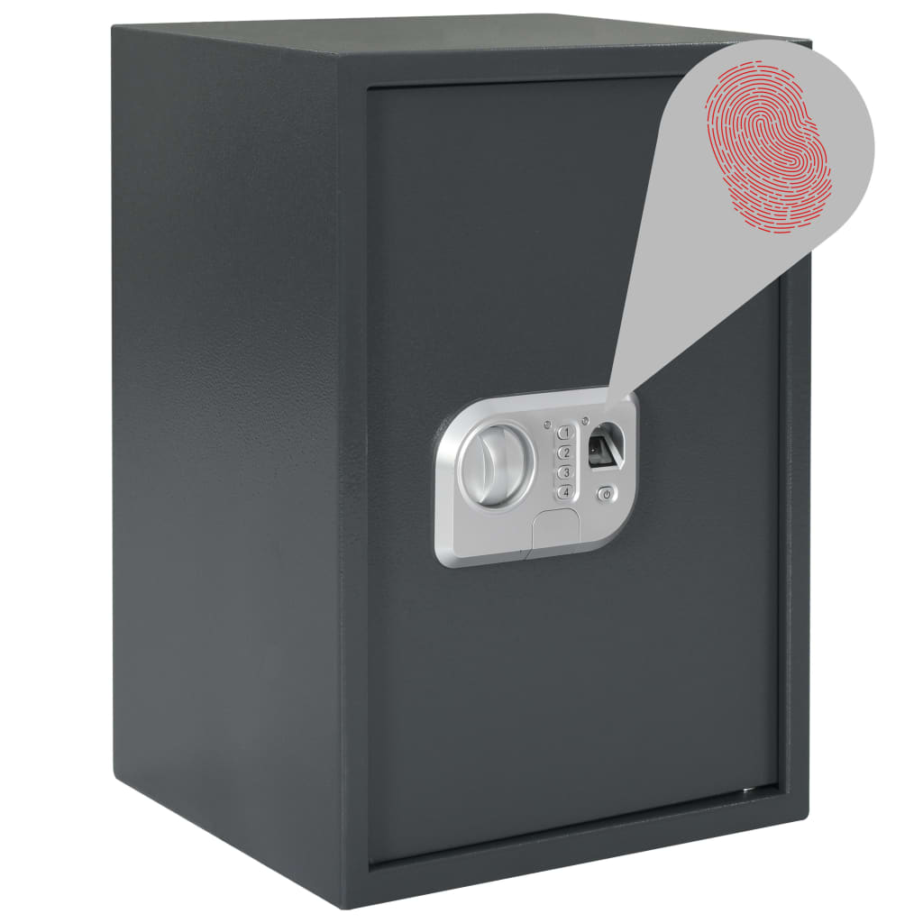 Coffre-fort numérique avec empreintes digitales gris foncé 35x31x50 cm