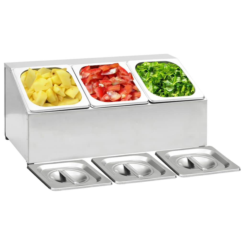 Gastronorm Container Holder with 3 GN 1/6 Pan Stainless Steel